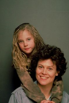 "Newt (Carrie Henn) and Ripley (Sigorney Weaver) from Aliens. ""They mostly come at night...mostly."""