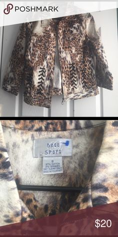 New Beth Sport Animal Print Denim Style Jacket 8 Animal print, size 8. Lace up details on front. Zip up. Betu  Jackets & Coats