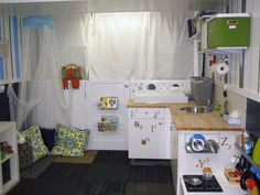One car garage converted to playroom.