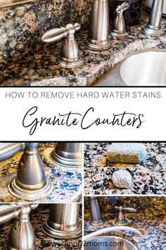 Want to remove those stubborn hard water stains from your granite counter tops? Our simple tutorial gets the job done without using any harsh chemicals. #simply2moms #granite #hardwaterstains #cleaningtips #hardwater #mineraldeposits #granite How To Clean Granite, Affordable Storage, Hard Water Stains, Quartz Countertops, Counter Tops, Home Decor Styles, Diy Tutorial, Cleaning Hacks, Simple