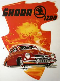 Skoda 1200 - Skoda - Škoda Auto Vintage Advertisements, Vintage Ads, Vintage Posters, Classic Motors, Classic Cars, Car Colors, Car Posters, Car Advertising, Car Drawings