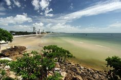Beach on the Southern End of Hua Hin, Thailand is a Wide Swath of Brilliant White Sand and Turquoise Water