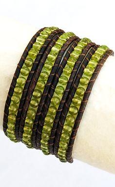 August Birthstone - Peridot. Green Peridot Beaded Brown Leather Wrap Bracelet.