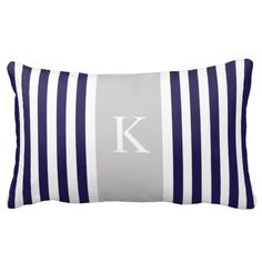 Shop Navy Blue Yellow Stripes Monogram Lumbar Pillow created by D_Zone_Designs. Monogram Pillows, Custom Pillows, Decorative Throw Pillows, Navy Blue Bedrooms, Blue Gray Bedroom, Grey Room, Bedroom Colors, Coral Blue, Yellow Stripes