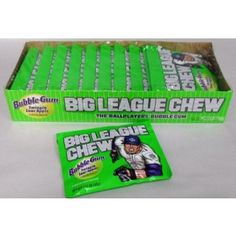 OLD TIME FAVORITES :: NOSTALGIC CANDY :: BIG LEAGUE CHEW GUM-SOUR APPLE 12CT BOX -