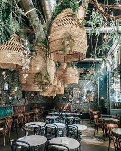 Italian Restaurant Decor, Woods Restaurant, Hotel Restaurant, Restaurant Interior Design, Greenhouse Bar, Greenhouse Restaurant, Tulum Restaurants, Jazz Cafe, Tropical Design