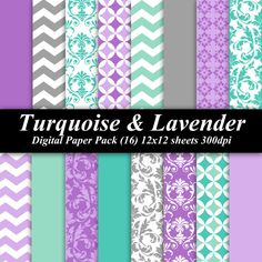 Turquoise and Lavender Digital Paper Pack 16 by DelightfulDigitals, $4.00