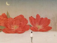 mujer mirando flores rojas afrontando lo que se va representando el vacío emocional