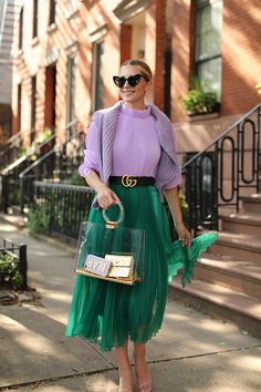 Lilac and green spring outfit Green Skirt Outfits, Green Dress Outfit, Dress Outfits, Outfit Summer, Colour Combinations Fashion, Color Combinations For Clothes, Colourful Outfits, Colorful Fashion, Mode Statements