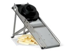 Bron 16-in. Super Pro Mandoline. by Bron. $186.00. Cleaning & Care: Handwash and dry thoroughly. Material: Stainless steel. Origin: France. Dimensions: 16.5 x 4.5-in.. Use this French mandoline to julienne or make rippled cuts of cabbage, potatoes or carrots. The width of the slice is adjusted by a handle on the underside of the device; a knob on the side adjusts the thickness. Makes paper-thin cuts up to 1/2-in. 16.5 x 4.5-in..