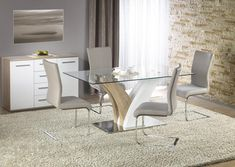 Masa din sticla si MDF Vilmer White/Oak #inspiration #homedecor #tables Glass Top Dining Table, Dinning Table, Dining Chairs, Bar Noir, Sonoma Oak, White Oak, Decoration, Clear Glass, Restaurant