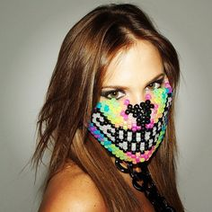 Hey, I found this really awesome Etsy listing at https://www.etsy.com/listing/215513407/rainbow-wolf-kandi-bead-mask-rave-wear