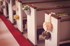 hanging idea on pews, my mom knows how o make these as well! awesome
