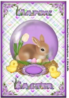 Bunny in a Globe A4 on Craftsuprint - Add To Basket!