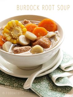 Burdock root soup - a kid-approved recipe that is very nutritious and nourishing. http://food-4tots.com/2011/09/18/burdock-root-soup/.