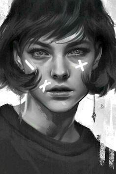 Striking monochrome portrait of a girl done digitally in Photoshop Digital Art Girl, Digital Portrait, Portrait Art, Art Sketches, Art Drawings, Realistic Paintings, Surreal Art, Digital Illustration, Portrait Illustration