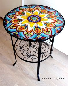 table Oriental tale, glass, fusing – shop online on . Painted Chairs, Hand Painted Furniture, Paint Furniture, Furniture Makeover, Mosaic Outdoor Table, Outdoor Table Tops, Old World Furniture, Mandala Painted Rocks, Ikea Table