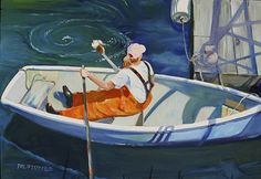 """Mystic Seaport: Philip S. Steel's oil paintings """"Leah Rowing to the Dock"""" of a scene at a dock in Swan's Island completed in 2010. Photo..."""