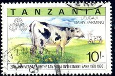 Cow, Dairy Farming, Tanzania stamp SC#701 used - bidStart (item 10305184 in Stamps, Topicals... Mammals)