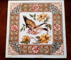 "#Rare Large 8¼"" x 8¼"" #Aesthetic #Tile of a Flying #Finch and #Roses by #Longwy of #France c.1900"