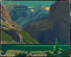 group of seven paintings   Lake O'Hara today; click magnifying glass to see JEH MacDonald's 1926 ...