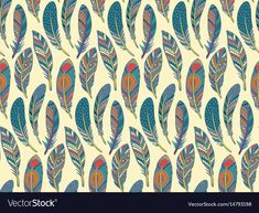 Seamless pattern with hand drawn ornate vector image on VectorStock Feather Clip Art, Feather Drawing, Colorful Feathers, Junk Journal, Adobe Illustrator, Hand Drawn, Vector Free, Ethnic, How To Draw Hands