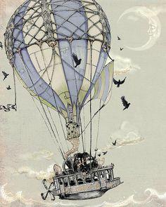 Steampunk Art Print - 8 x 10 Hot Air Balloon - nautische Giclee KUNSTDRUCK - grau blau blass grün schwarz staubig - Märchen Art Childrens auf Etsy, 5,95 €
