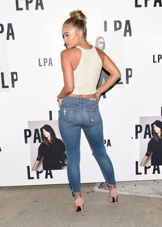 Jasmine Sanders – LPA Launch Party in Los Angeles Biracial Women, Jasmine Sanders, Daisy Dukes, Launch Party, Overalls, Product Launch, Skinny Jeans, Booty, Denim