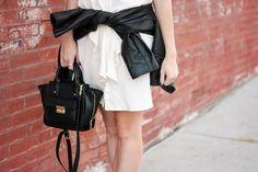 White Dress with Leather Jacket #whitedress #leatherjacket #thebrunetteone