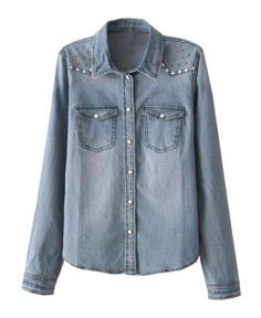 Washed Denim Blouse with Rivets Embellishment