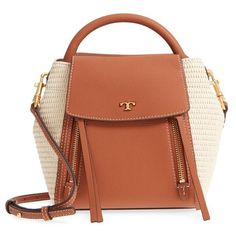 Women's Tory Burch Half Moon Straw & Leather Crossbody Bag (640 BAM) ❤ liked on Polyvore featuring bags, handbags, shoulder bags, tory burch handbags, leather crossbody handbags, brown leather crossbody, brown leather purse and cross-body handbag