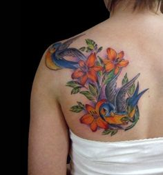 Sparrow and Lily Tattoo for Shoulder