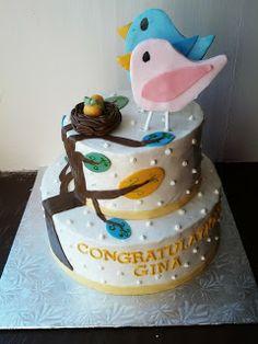 Second Generation Cake Design ~ bird themed baby shower cake