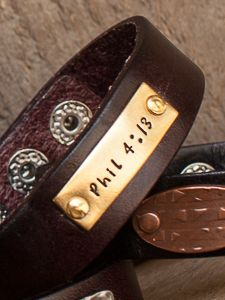 "3/4"" Leather Bracelet with Rectangle Tag Choose your Leather color (Black or Brown) and your Metal Color for your Tag. Then you get to make it PERSONAL!"