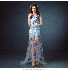 青花瓷蓝色新娘结婚敬酒晚宴年会演出伴娘前短后长款婚纱礼服