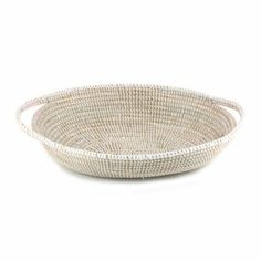 Handmade Fair Trade Woven White African Bread Basket