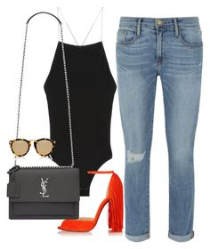 """""""Sin título #2086"""" by camilae97 ❤ liked on Polyvore featuring Frame, Christian Louboutin, Yves Saint Laurent and Karen Walker"""