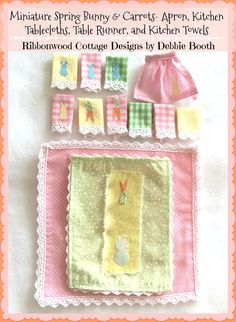 PDF Pattern Miniature Spring Bunny and Carrots Tablecloth, Runner, Kitchen Towel and Embellished Apron - Dollhouse Scale 1:12 by RibbonwoodCottage on Etsy