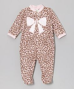 Take a look at this Pink Leopard Bow Fleece Footie - Infant by Little Me on #zulily today!