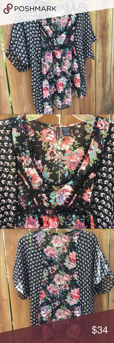 """Fire LA boho top floral oversize sheer blouse Fire Los Angeles crochet accent boho top, 100% poly fabric, sheer and light, beautiful floral print, women's sz S bust = 44"""" length = 25"""", oversized and meant to fit loosely, in excellent condition. Fire Los Angeles Tops Blouses"""