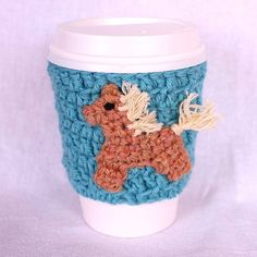 Pony Coffee Mug Cup Travel Mug Crochet Cozy by CageFreeFibers