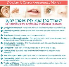 10 common signs of a sensory processing disorder. October is sensory awareness month. Sensory Diet, Sensory Issues, Autism Sensory, Sensory Activities, Sensory Play, Sensitivity To Sound, Auditory Processing Disorder, Sensory Disorder, Sensory Integration