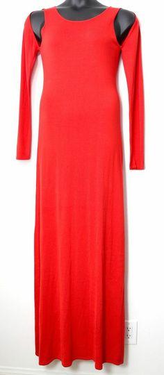 BCBG MAXAZRIA 'Noema' Open Shoulder Bright Poppy Maxi Dress, Size L, NEW #BCBGMAXAZRIA #Maxi #Formal