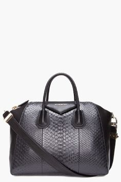 e3dbc3f0b1 GIVENCHY // MEDIUM PYTHON ANTIGONA DUFFLE BAG Leather Duffle Bag, Black  Patent Leather,