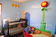 Mario Nursery Inspiration at directorjewels.com Super Mario Bros, Nintendo Theme DIY Decor and Ideas