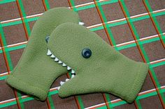 fleece dino mittens