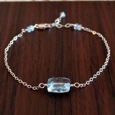Sky Blue Topaz Bracelet Gemstone Sterling Silver by livjewellery