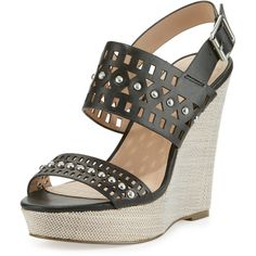 a338048f5558 Charles By Charles David Aloof Studded Laser-Cut Wedge Sandal ( 69) ❤ liked