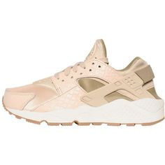 Nike Women Air Huarache Run Premium Sneakers ($170) ❤ liked on Polyvore featuring shoes, cipria, perforated shoes, breathable mesh shoes, traction shoes, air sole shoes and lightweight shoes