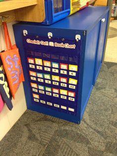 Book checkout system Organization And Management, Teacher Organization, Classroom Management, Organization Ideas, Class Management, Book Basket Labels, Book Baskets, Kindergarten Classroom, School Classroom